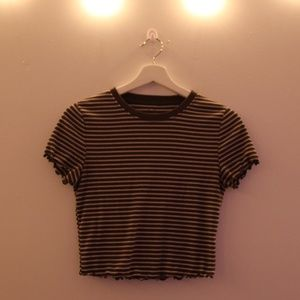 women's army green and white striped t shirt